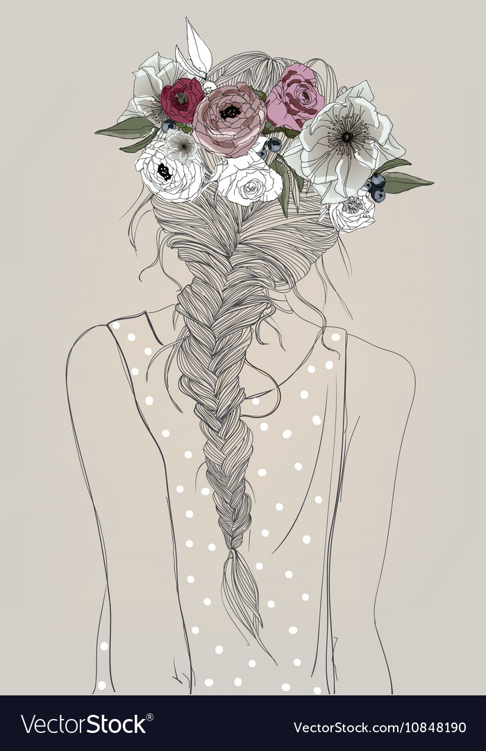 Cute girl with braid and flowers vector image