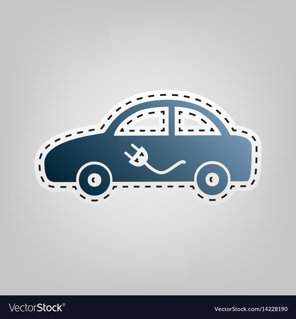 Electric car sign blue icon with outline