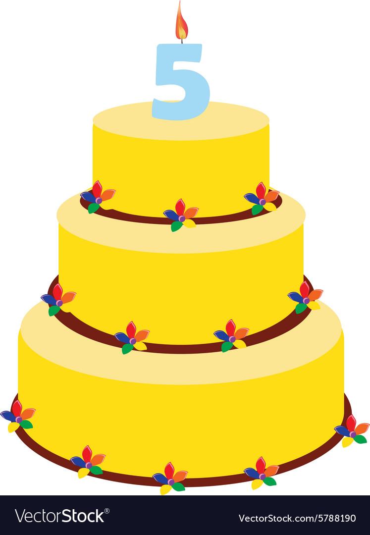 Fifth Birthday Cake Vector Image