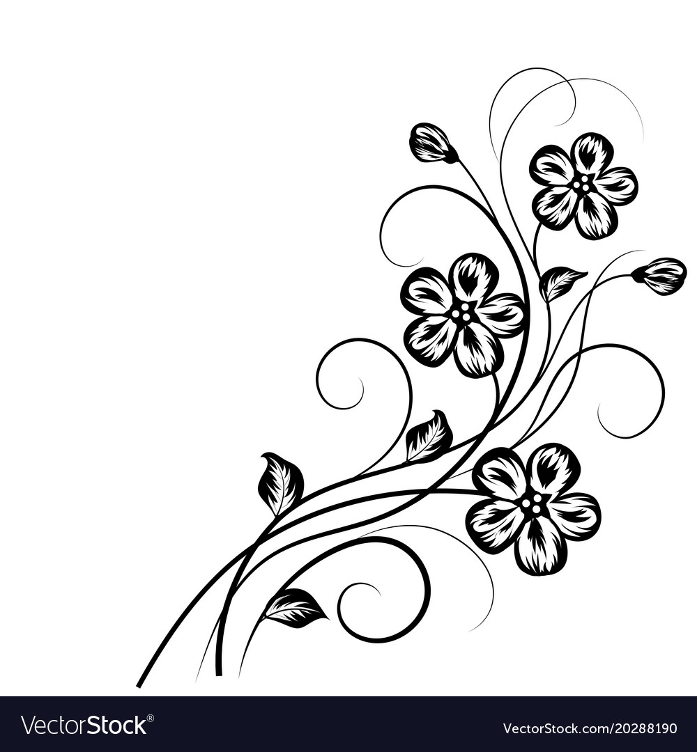 Floral Background In Black And White Royalty Free Vector