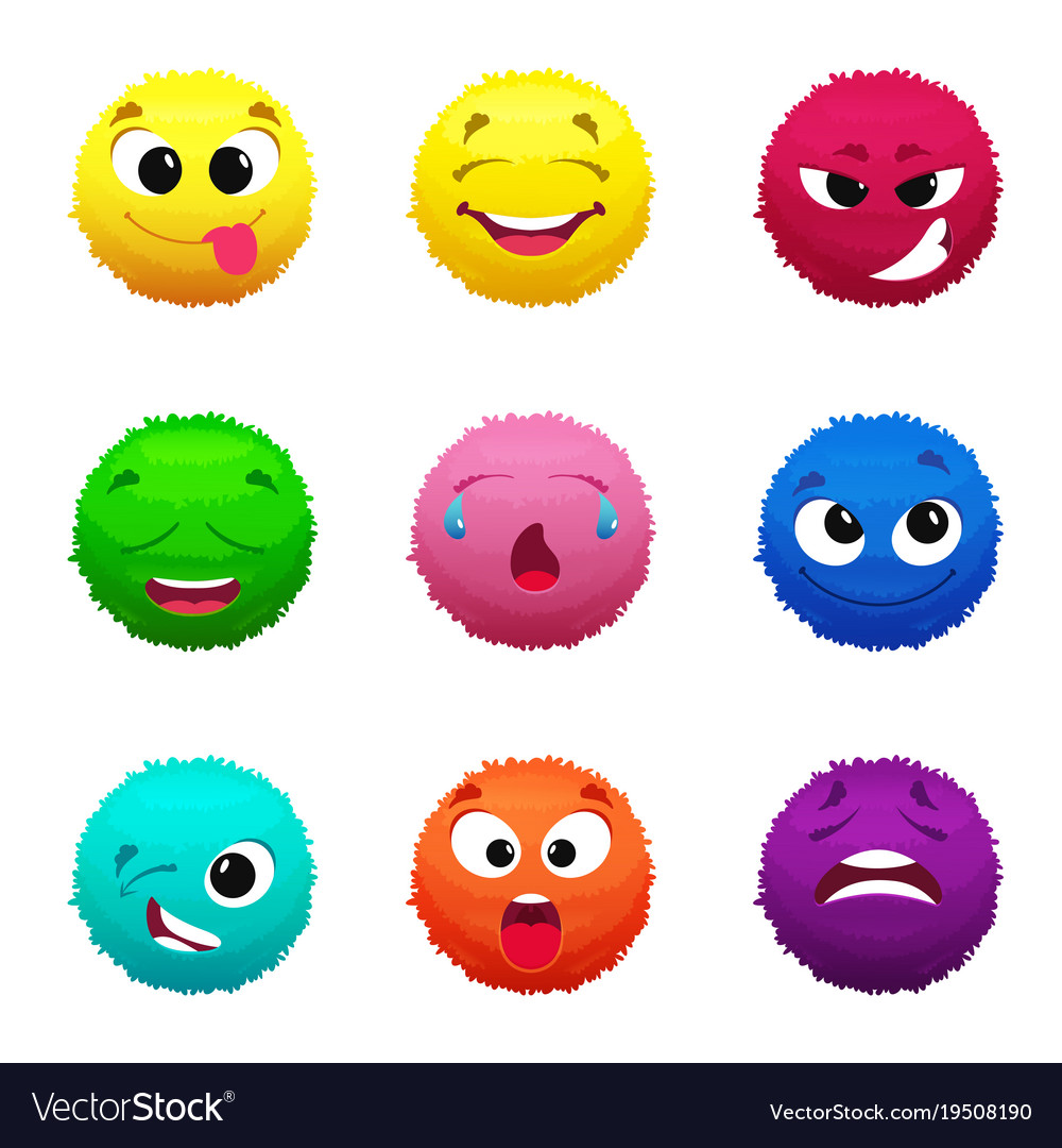 Funny furry faces of monsters puffy balls of