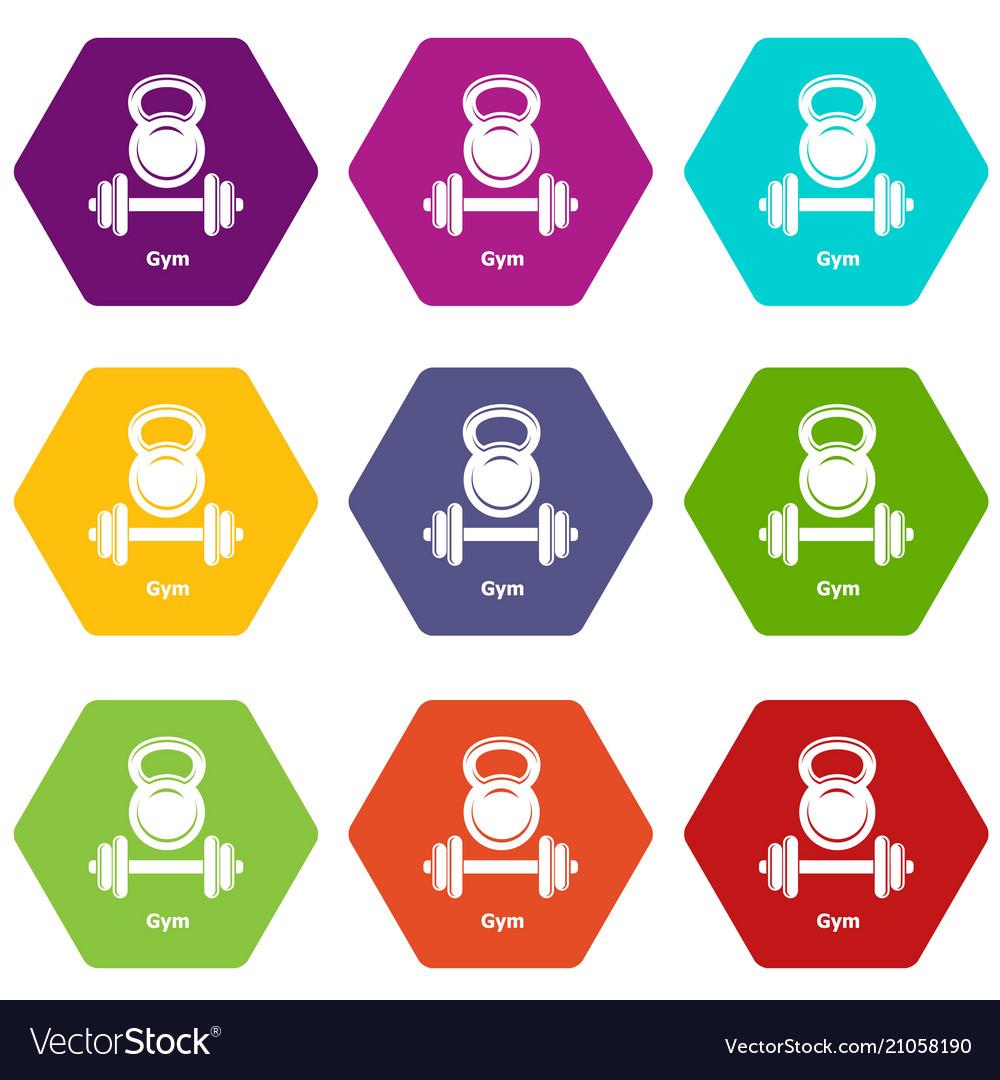 Gym metall icons set 9