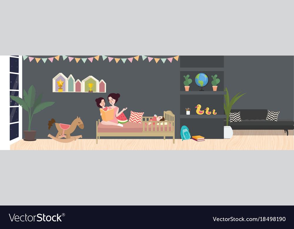 Kid room interior in dark