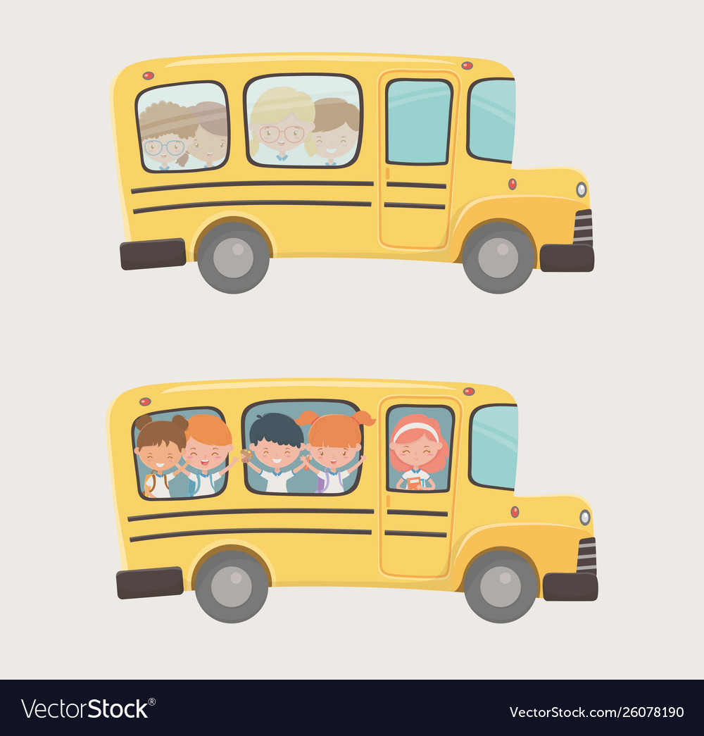 School bus transport with group kids
