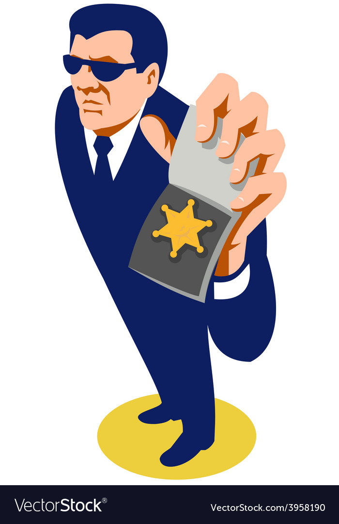 Secret agent showing id badge retro vector image