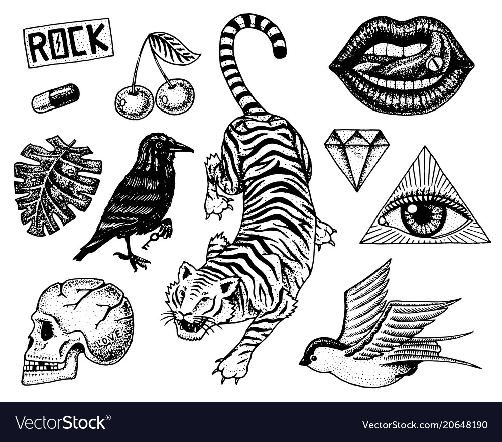 Set fashion patches tattoo artwork for girls