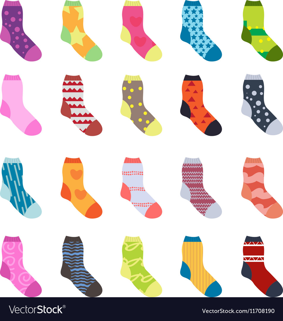 Sock set icons Socks collection flat design