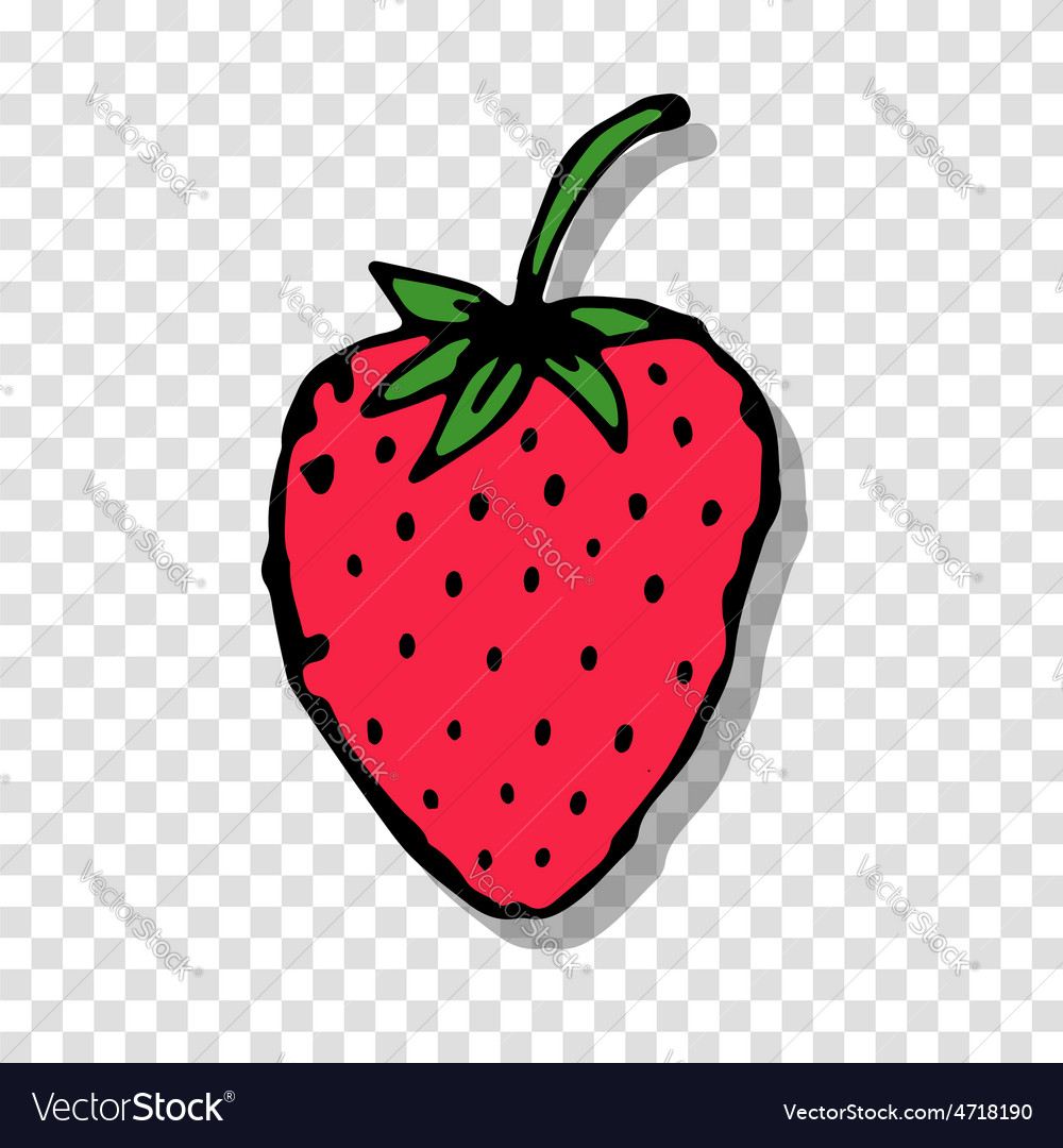 Strawberry sketch on transparent background for vector image