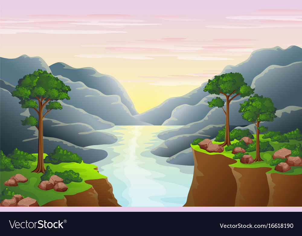 Sunset in the mountains above the river vector image