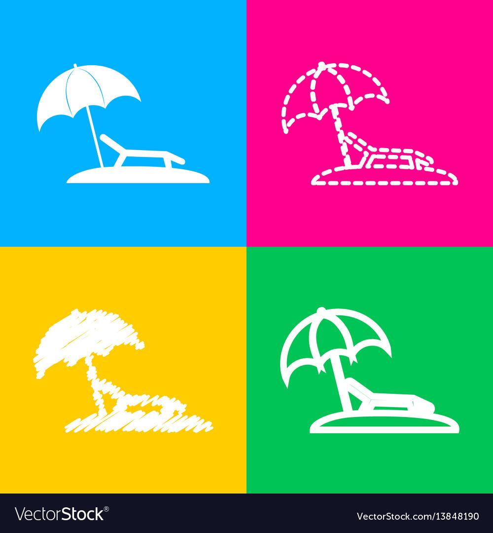 Tropical resort beach sunbed chair sign four