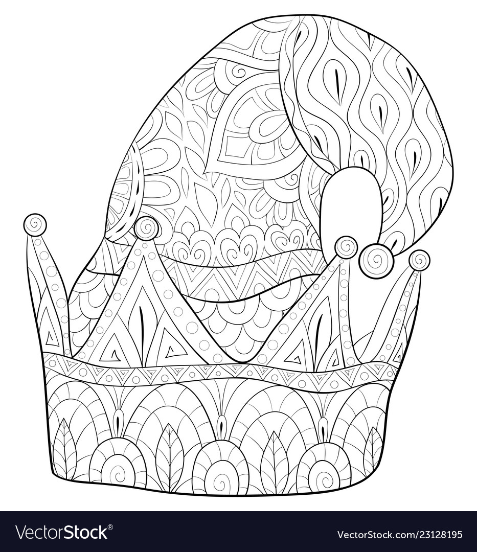 Adult coloring bookpage a cute christmas cap