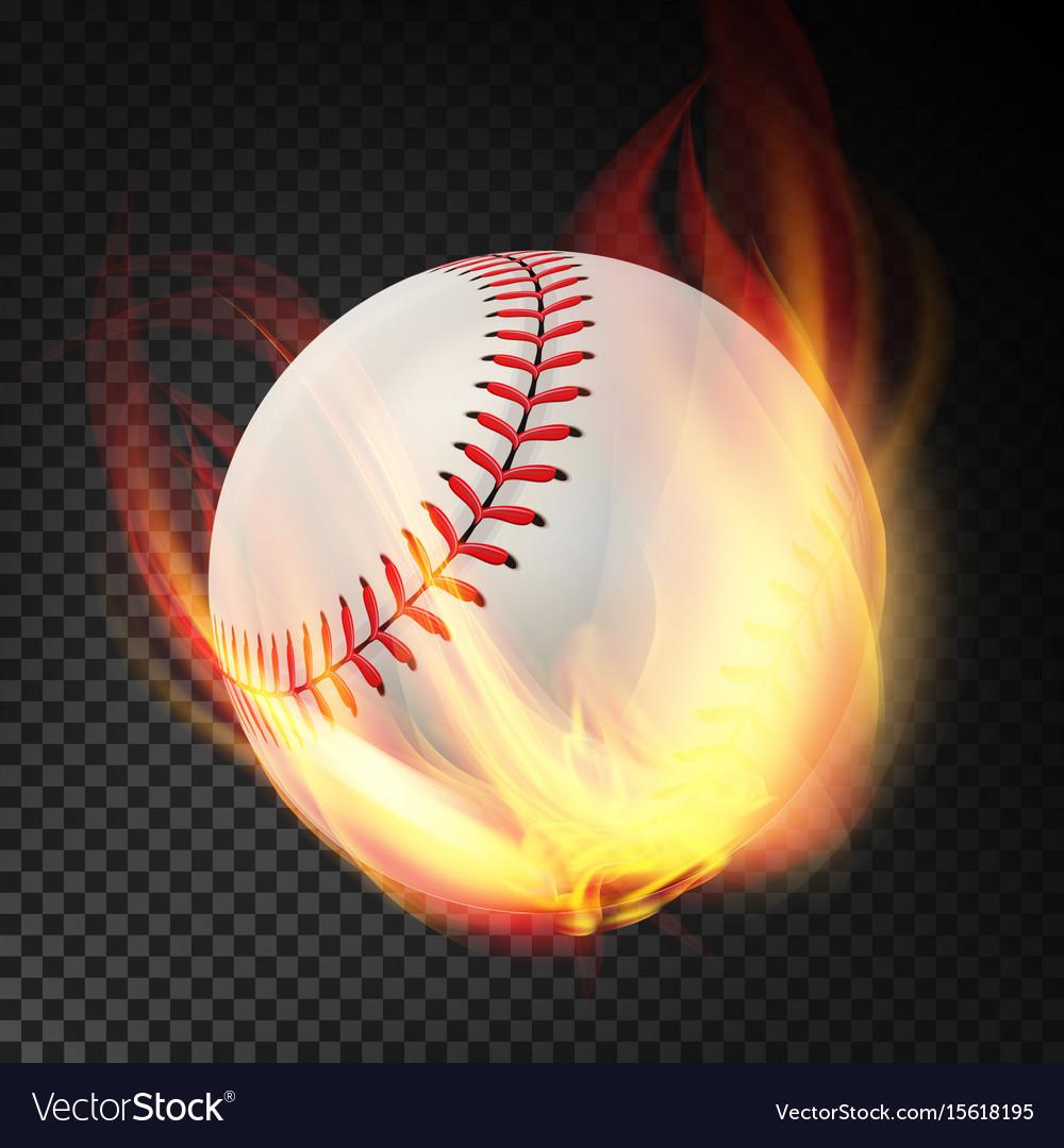 Baseball on fire burning style vector image