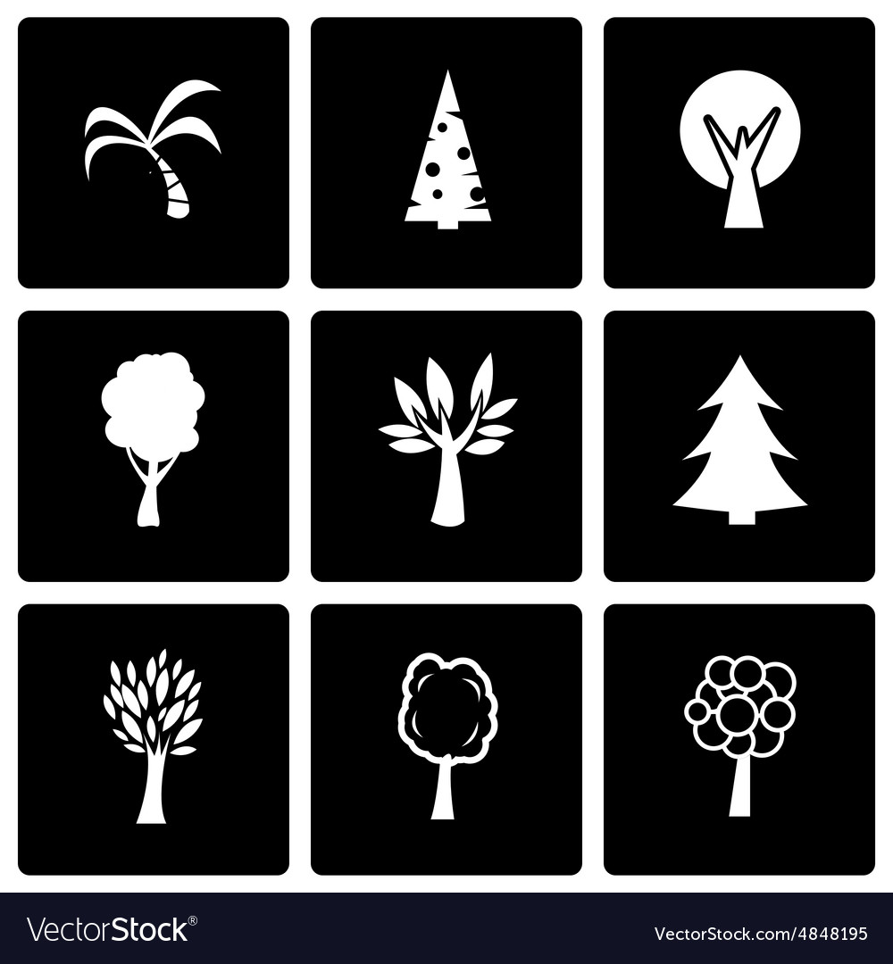 Black trees icon set vector image