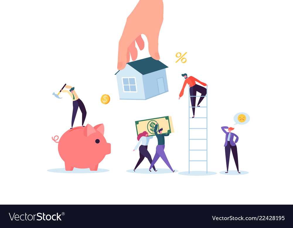 Characters paying for mortrage house real estate