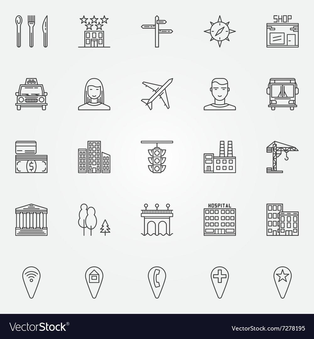 City line icons set