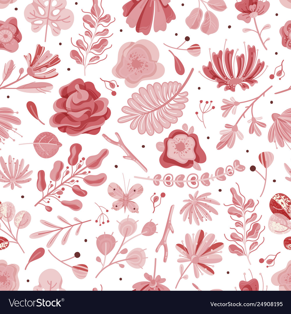 Coral seamless pattern floral spring summer