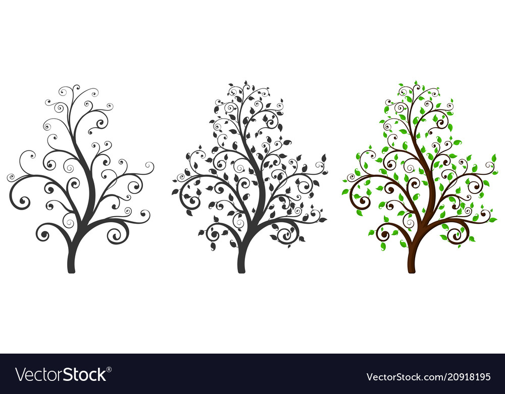 Decoratives trees with and without leaves