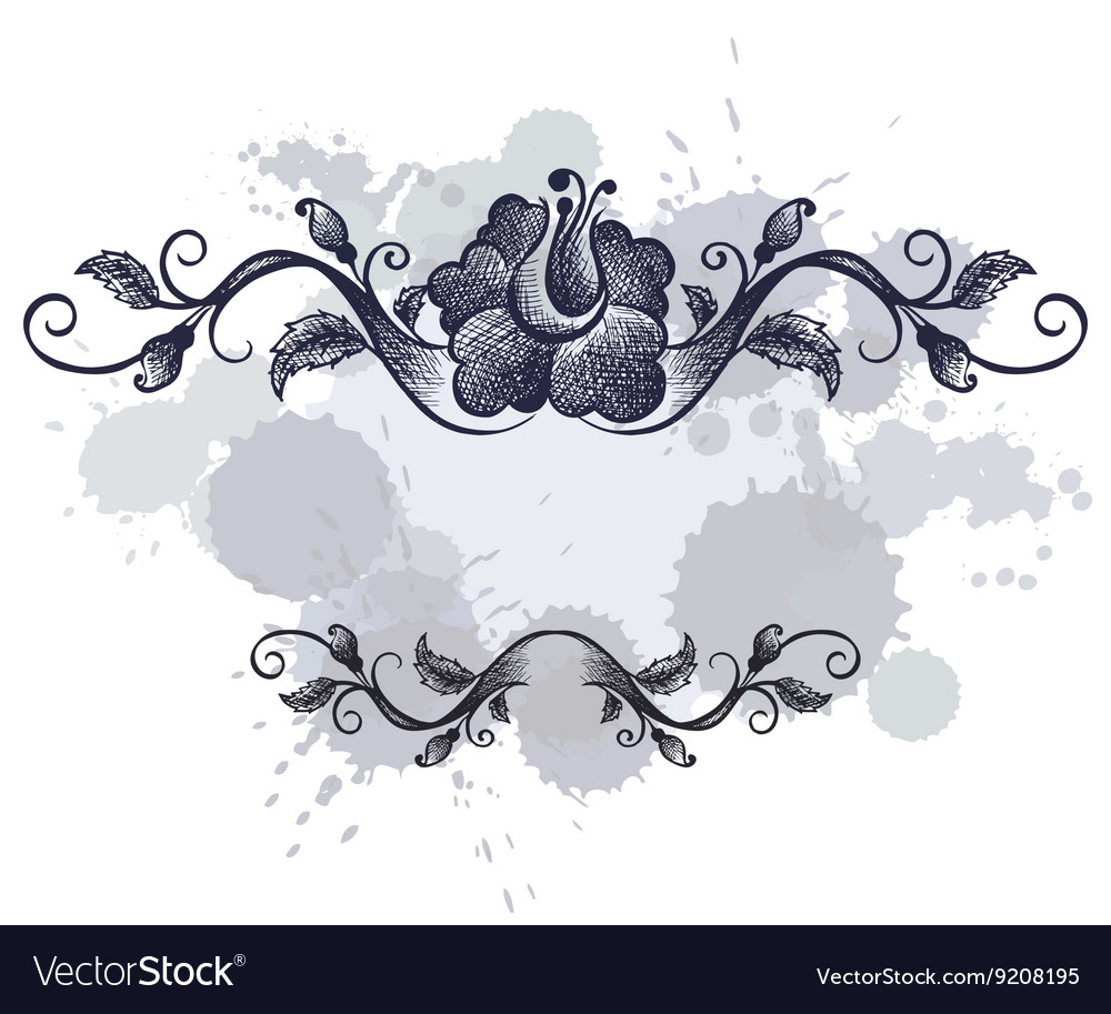 Doodle floral frame border on grunge background