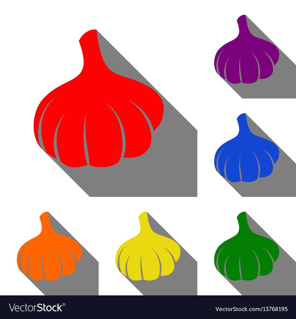 Garlic simple sign set of red orange yellow