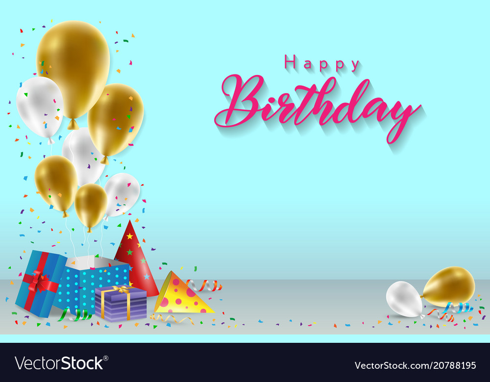 Happy birthday background template royalty free vector image - Happy birthday card wallpaper ...