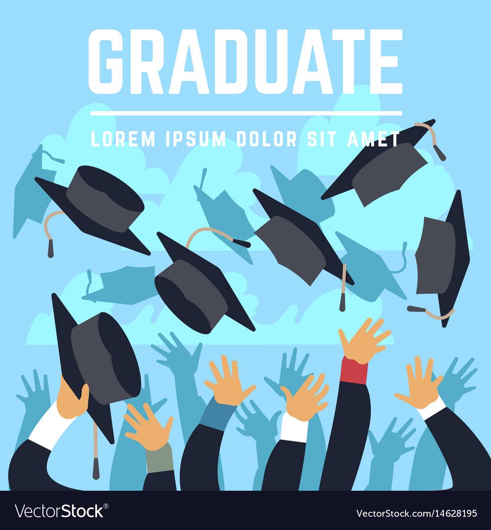 High school graduating students throw black