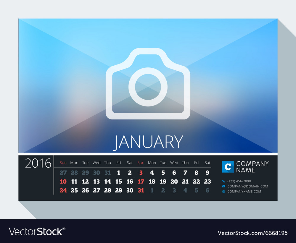 january 2016 stationery design print template desk