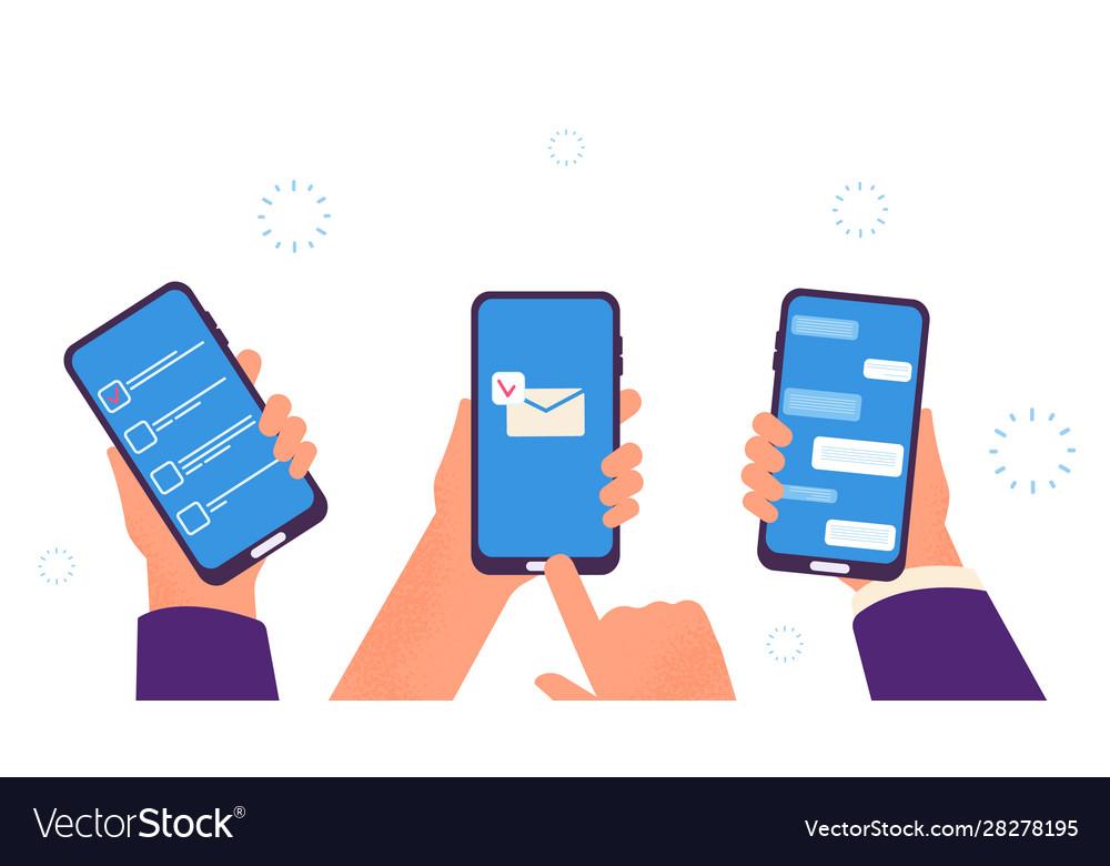 People chat hands hold smartphones digital