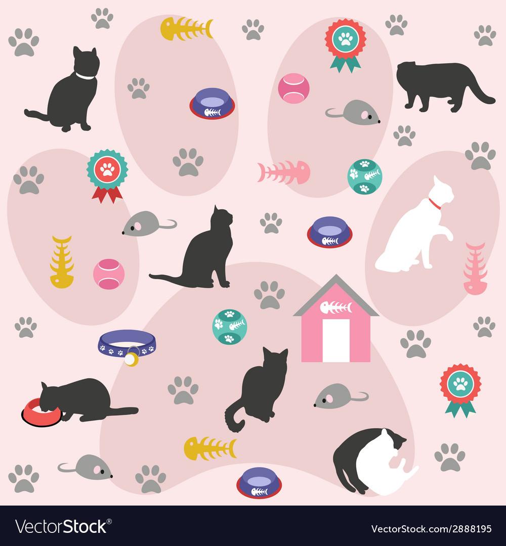 Seamless pattern cat icons