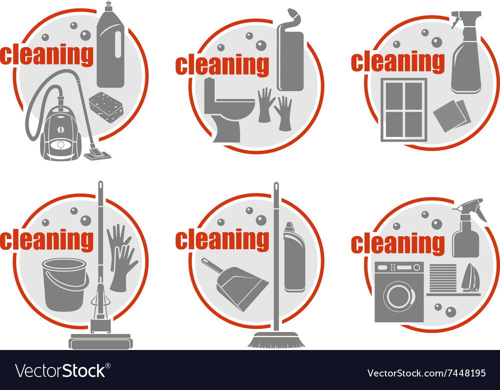 Set of icon cleaning vector image
