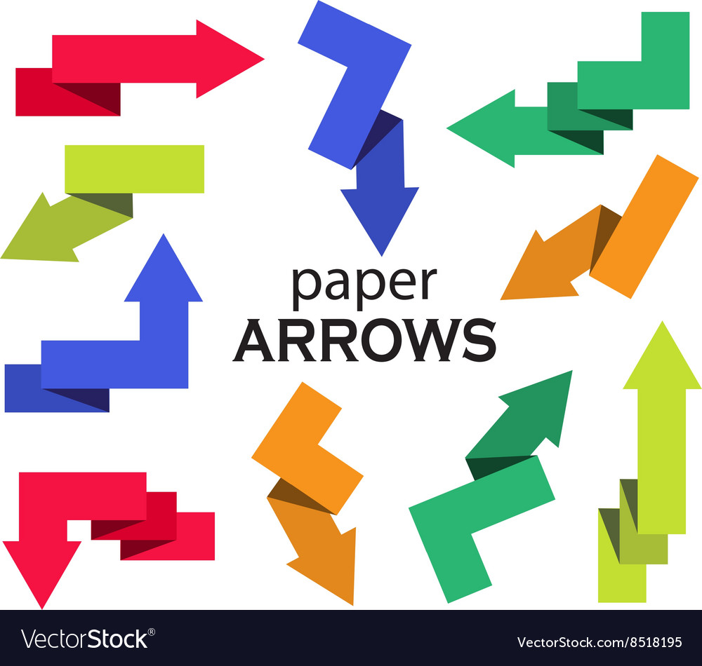 Set of multi-colored paper arrows