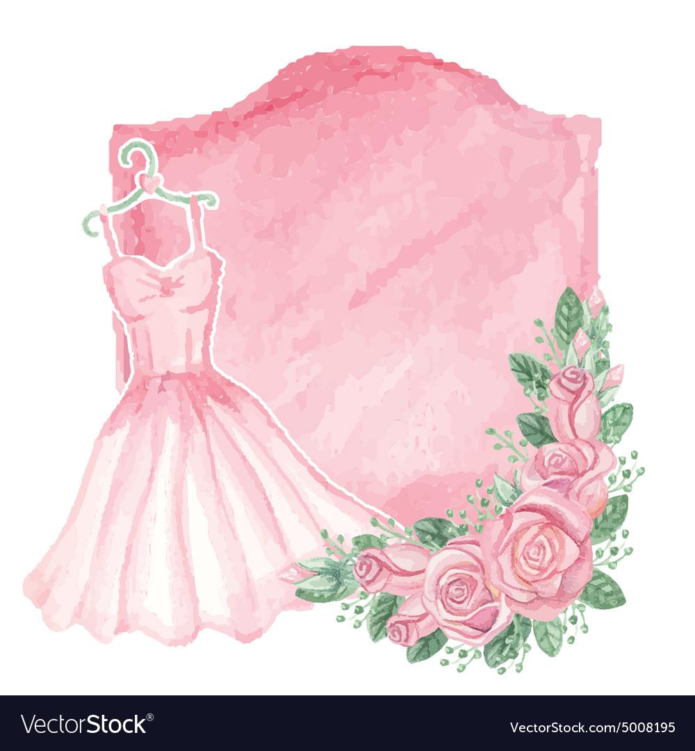 Watercolor pink dress roses decorbadgeVintage