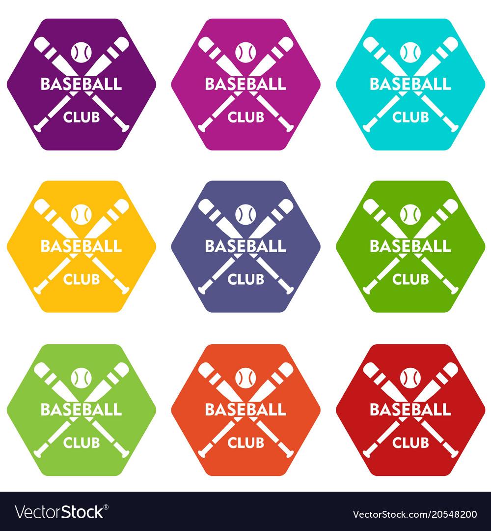 Baseball club icons set 9