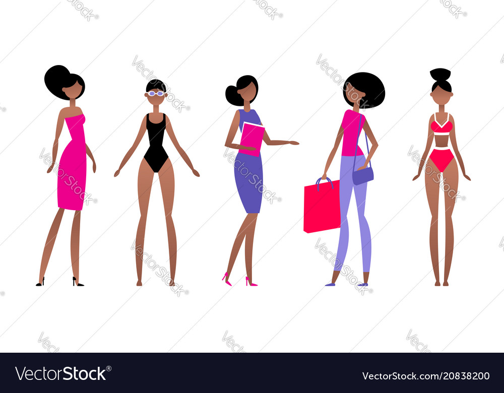 Black woman in different styles of clothes with