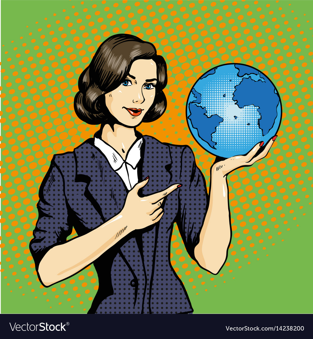 Business lady with planet earth in hand vector image