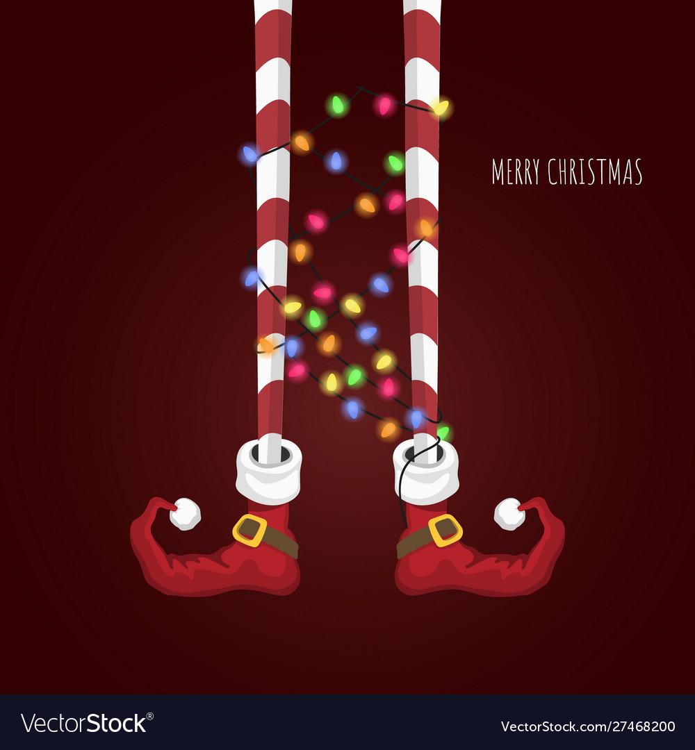 Christmas elf in cartoon style santas helper