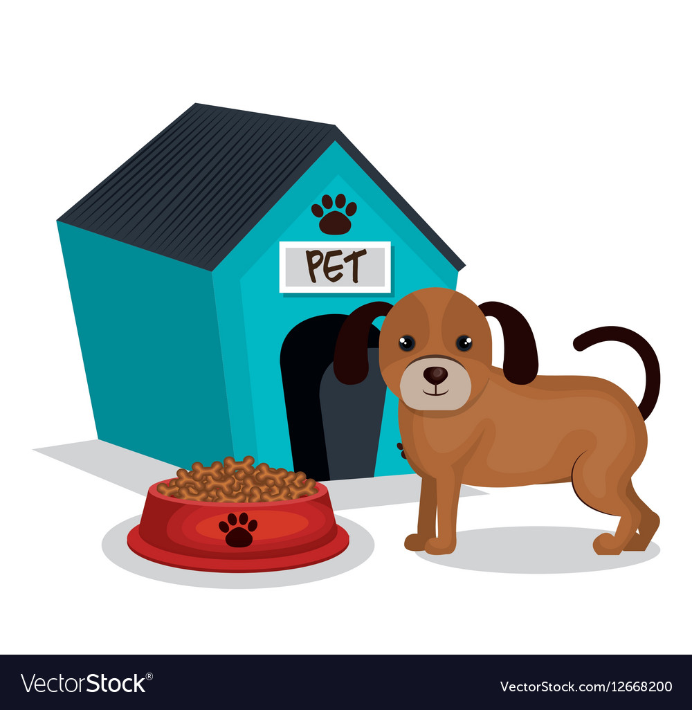 Cute dog with house mascot icon vector image