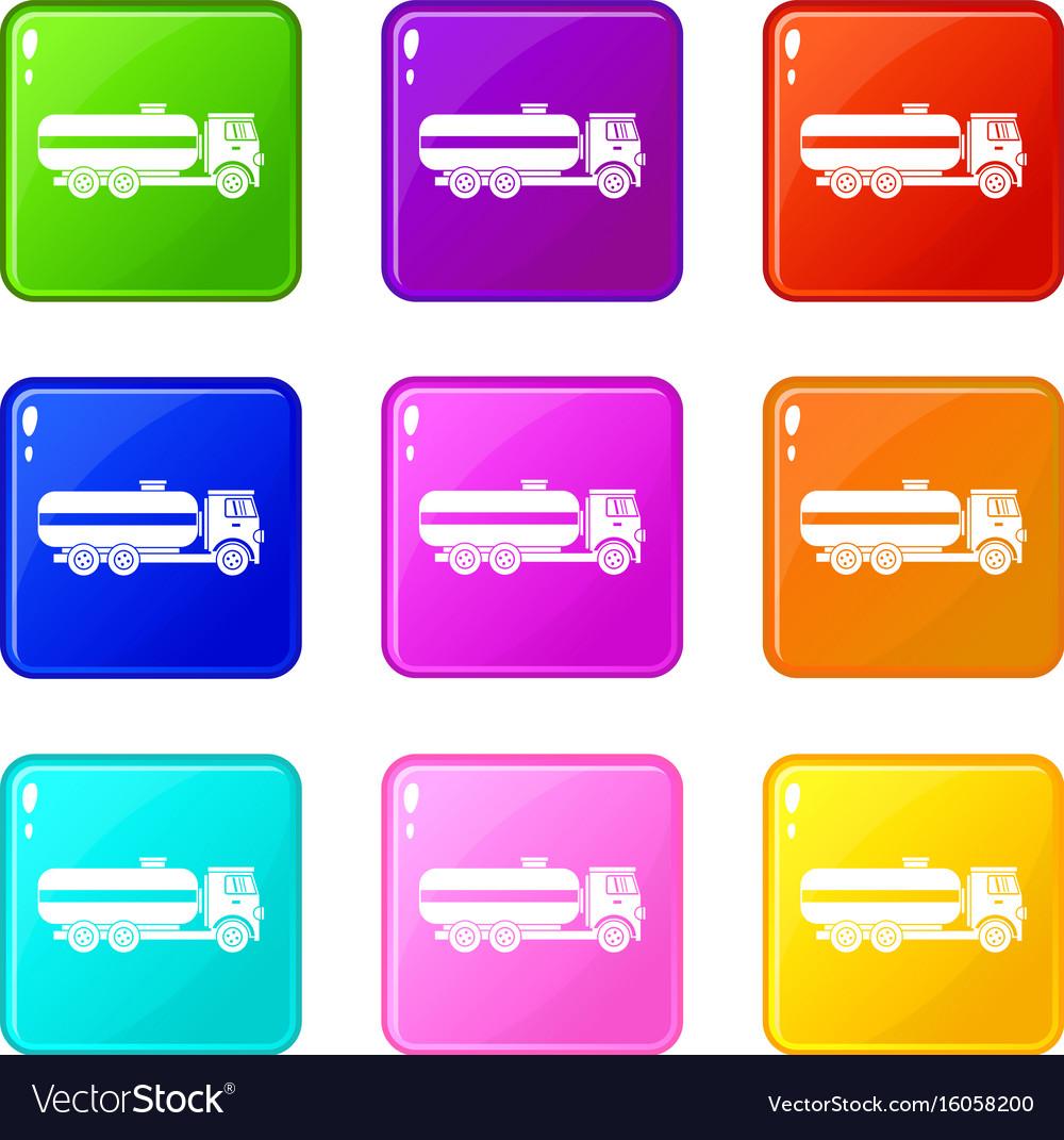 Fuel tanker truck set 9 vector image