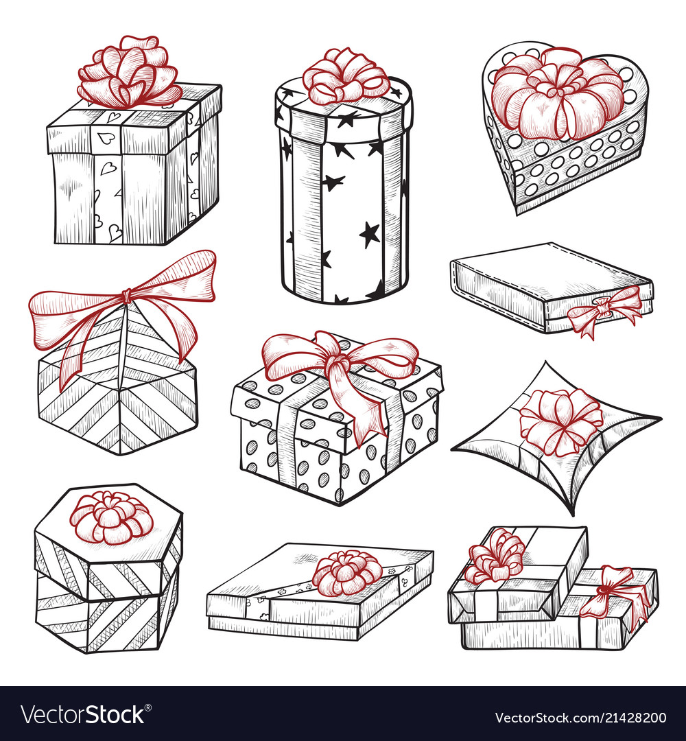 Gift boxes hand drawn