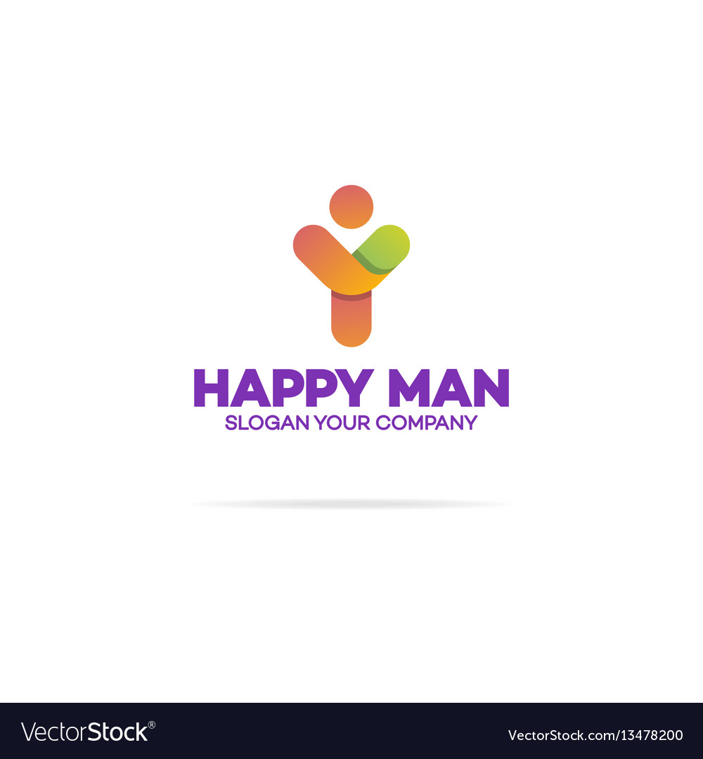 Happy human logo with silhouette man