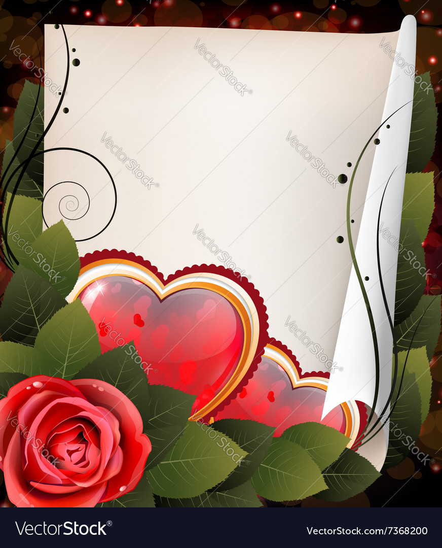 Hearts rose and parchment Valentine card