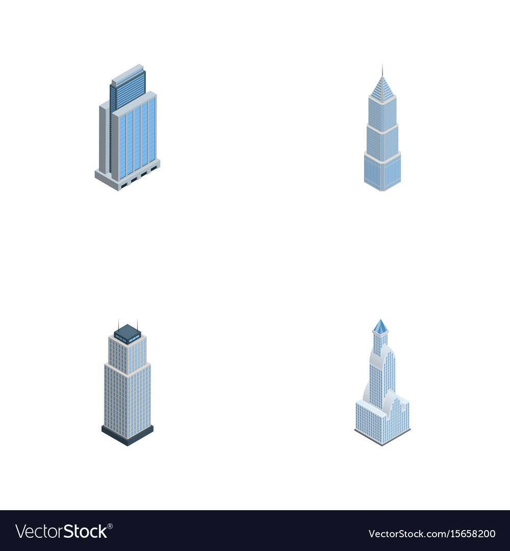 Isometric skyscraper set of urban tower