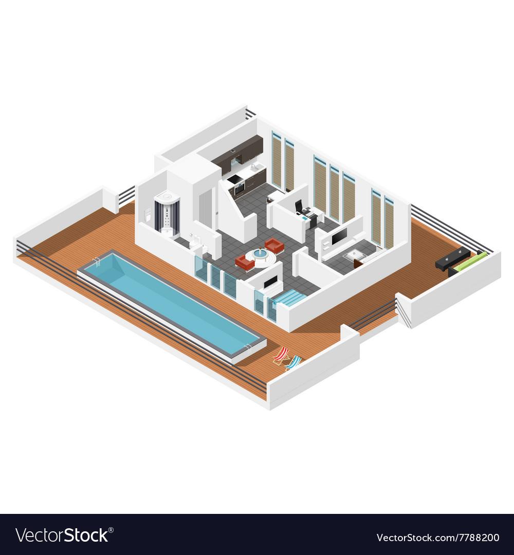 Penthouse apartment isometric icon set