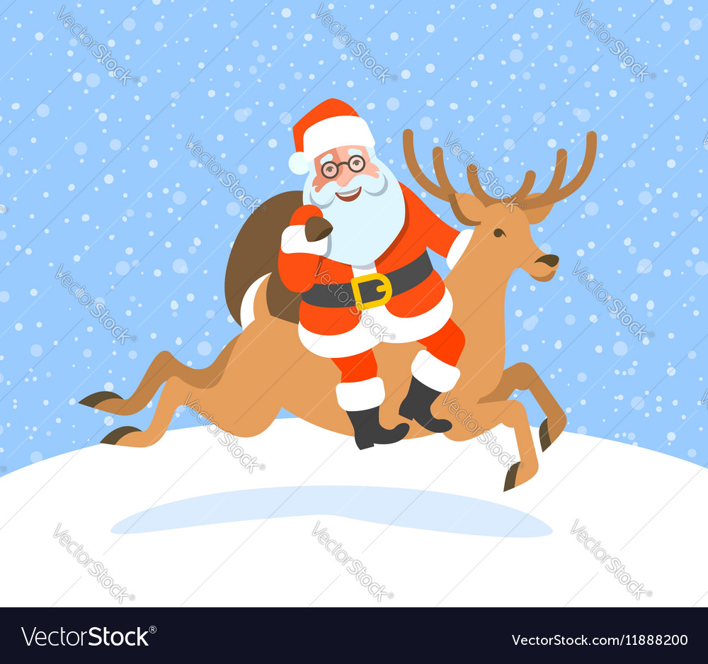 Santa Claus with gifts rides on Christmas deer