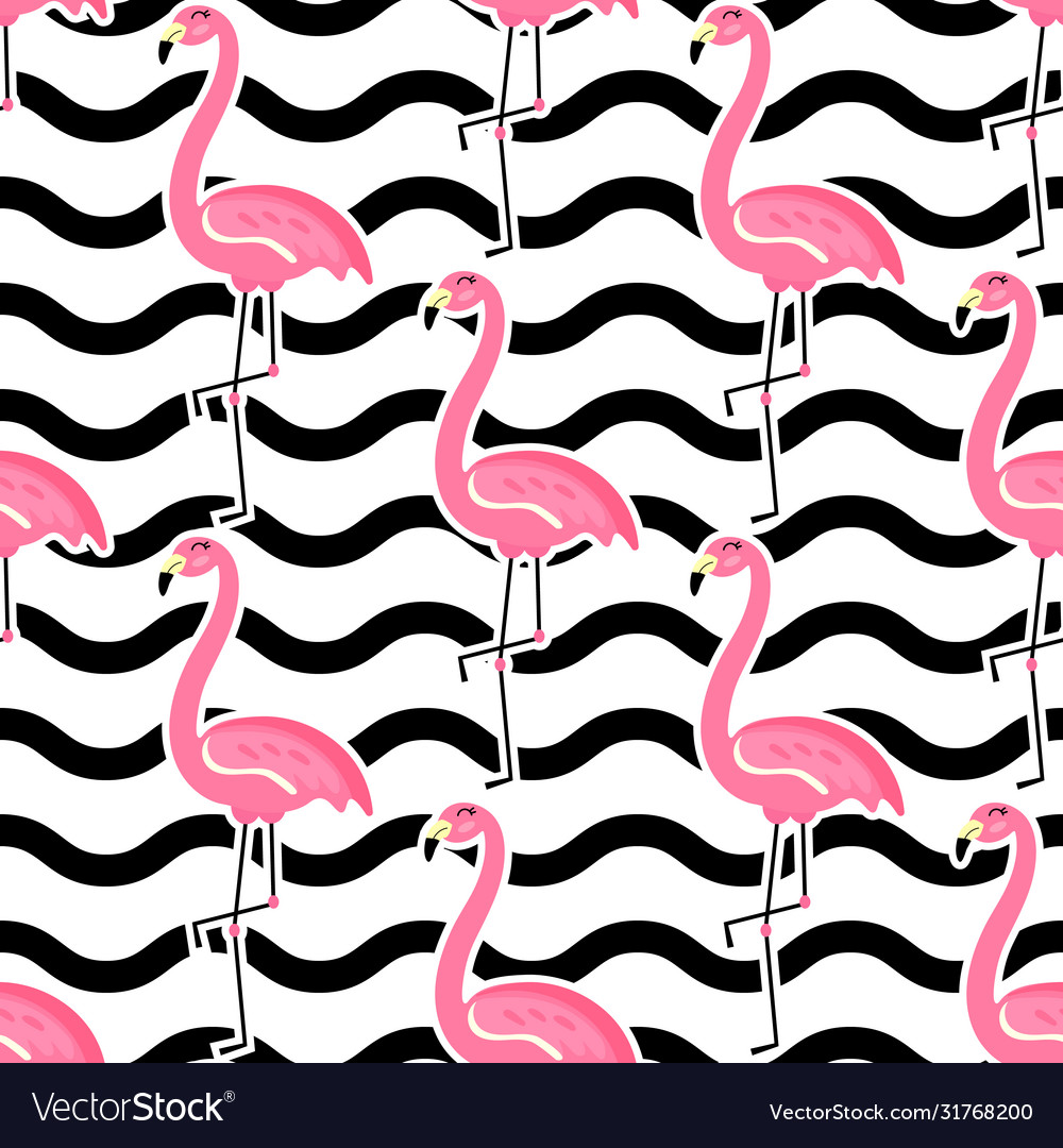 Seamless tropical pattern with cute pink
