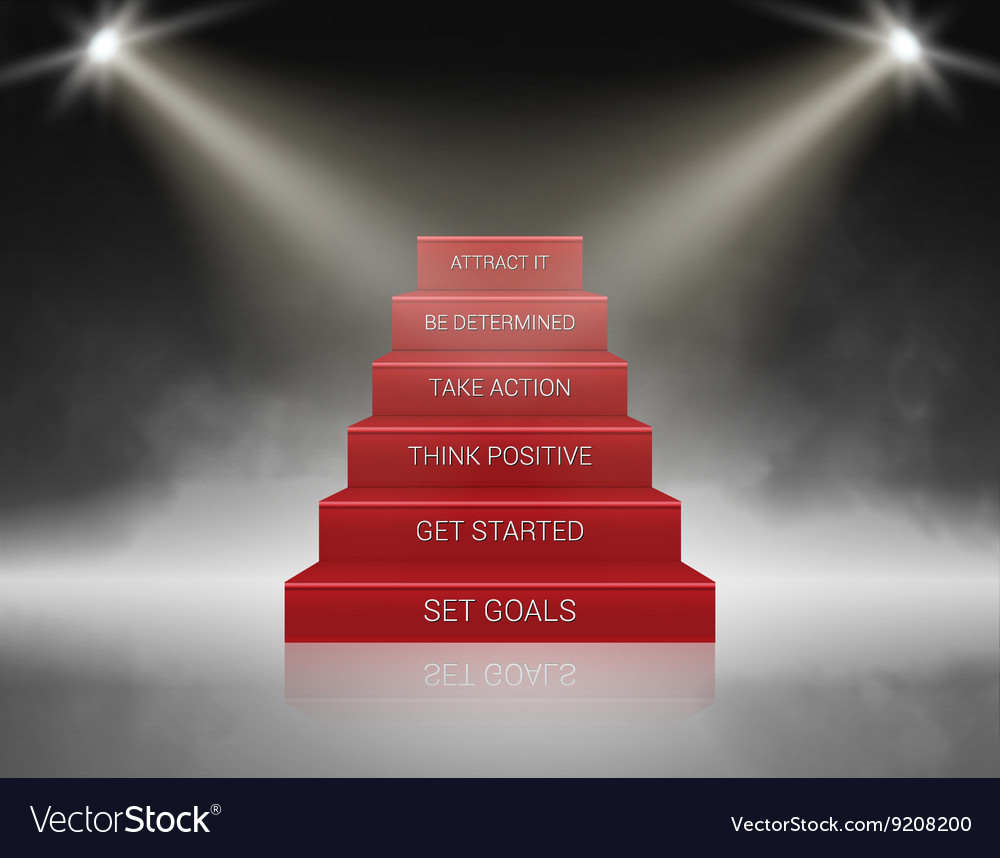 Smoky Stairs Stage Podium With 6 Success Steps Vector Image