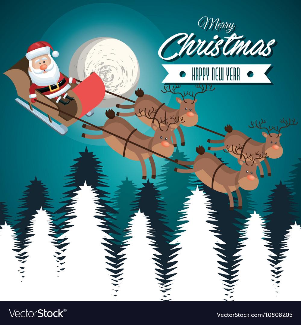 Card merry christmas santa flying reindeer