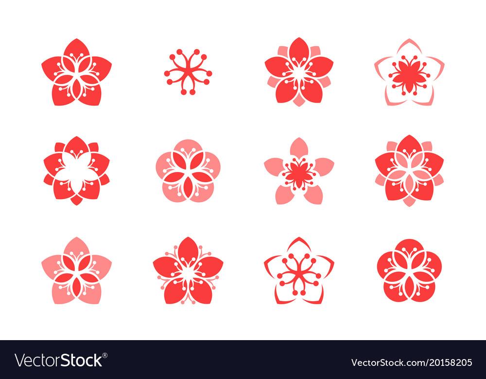 Cherry blossom icon set vector image