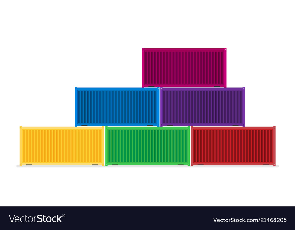 Colorful cargo shipping containers in flat style