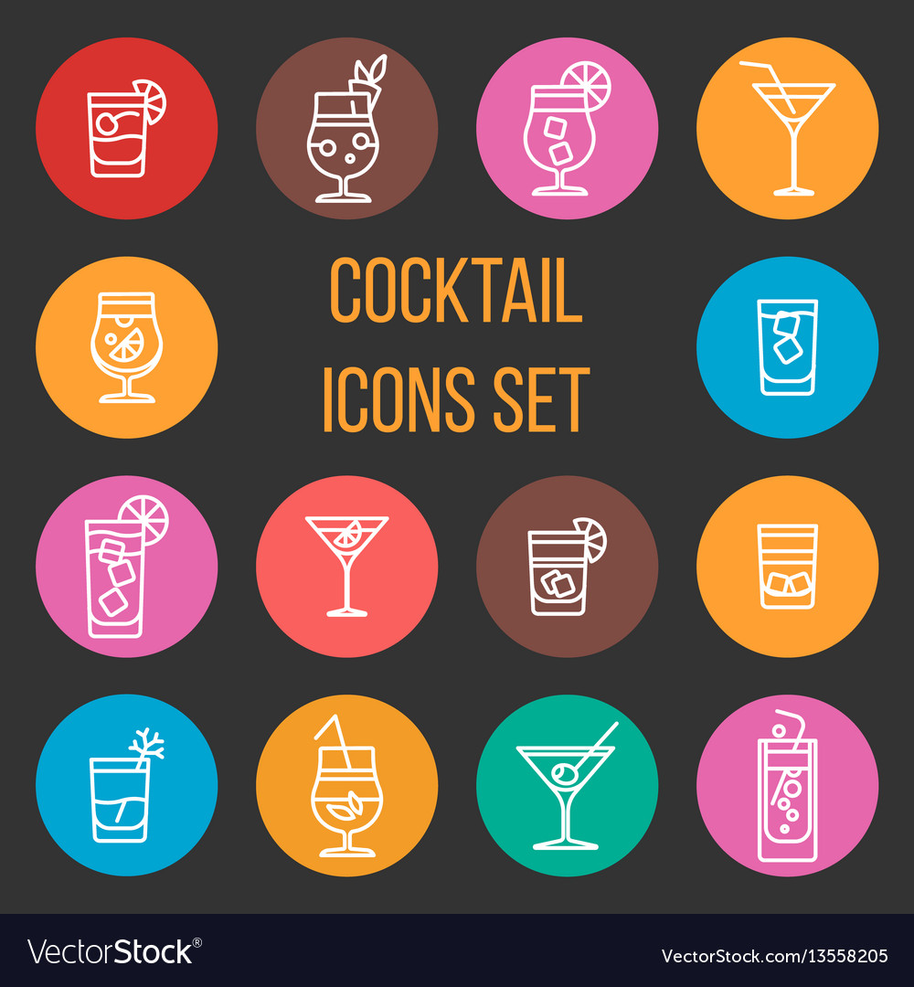 Colorful cocktail thin line icons set