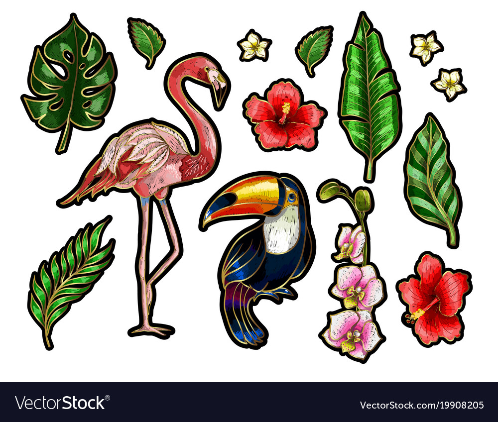 Flamingo toucan and flowers embroidery